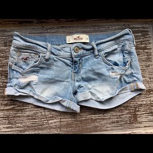 Hollister Denim Low Rise Distressed Blue Shorts